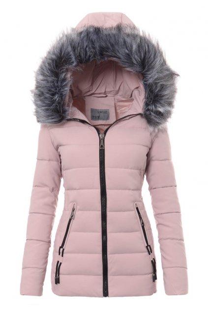 Dámska zimná bunda s kapucňou 3462 ružová