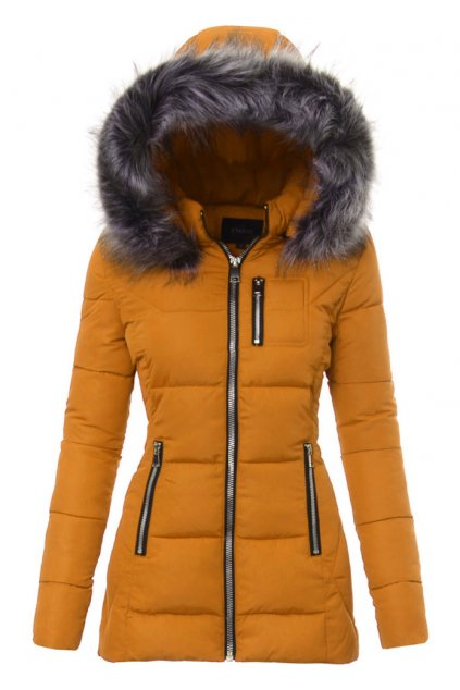 Dámska zimná bunda s kapucňou 3469 horčicová