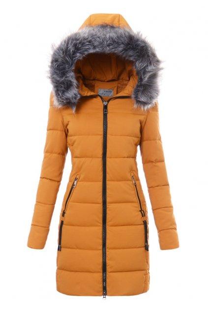 Dámska dlhá zimná bunda s kapucňou 3483 žltá