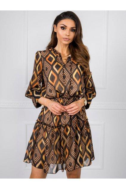 Dámske košeľové šaty Malgo 7760 karamel