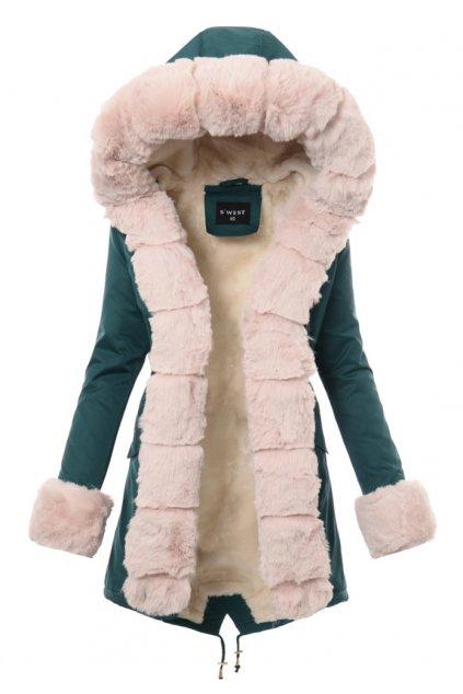 Dámska zimná bunda parka s kožušinou 3682 zelená