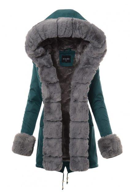 Dámska zimná bunda parka s kožušinou 3681 zelená