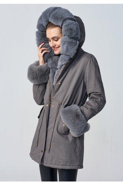 Dámska zimná bunda parka s kožušinou 3016 šedá