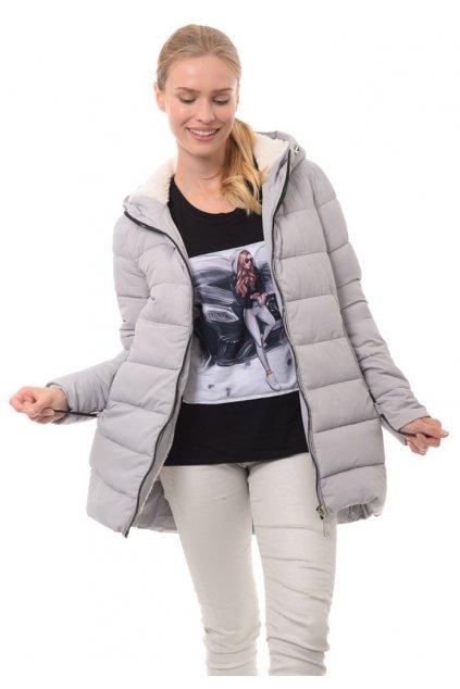 Dámska zimná bunda s kapucňou 3558 šedá