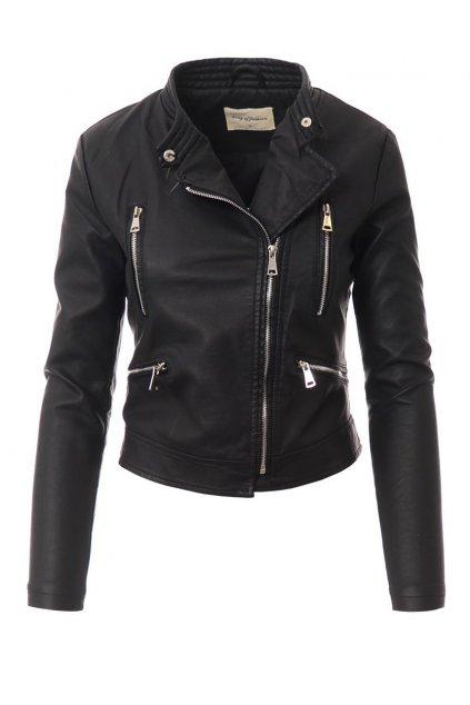 Dámska kožená bunda biker 4094 čierna