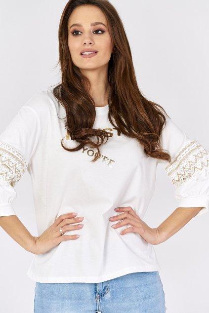 bawelniana bluzka z azurowymi wstawkami