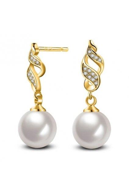 Zlaté perlové náušnice 0012