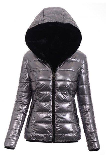 Dámska zimná bunda s kapucňou 4776 strieborná