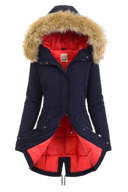 Dámska zimná bunda parka s kapucňou 4792 modročervená