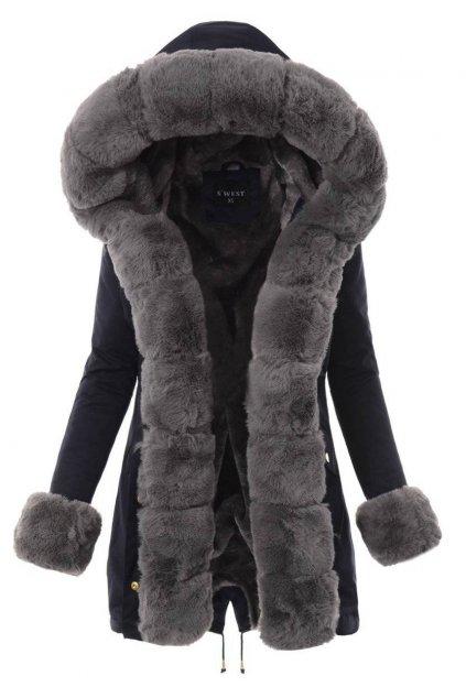 Dámska zimná bunda parka s kožušinou 4860 modrá
