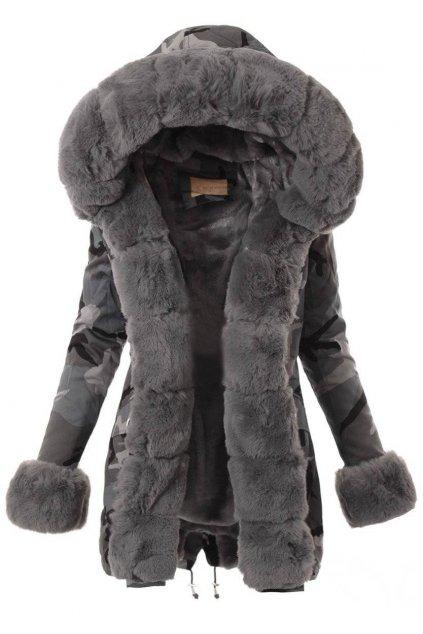 Dámska zimná bunda parka s kožušinou 4877 maskáč