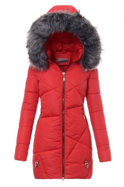 Dámska dlhá zimná bunda s kapucňou 4758 červená