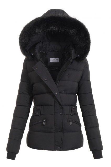Dámska zimná bunda s kapucňou 4770 čierna