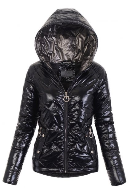 Dámska prechodná bunda s kapucňou 4779 čierna
