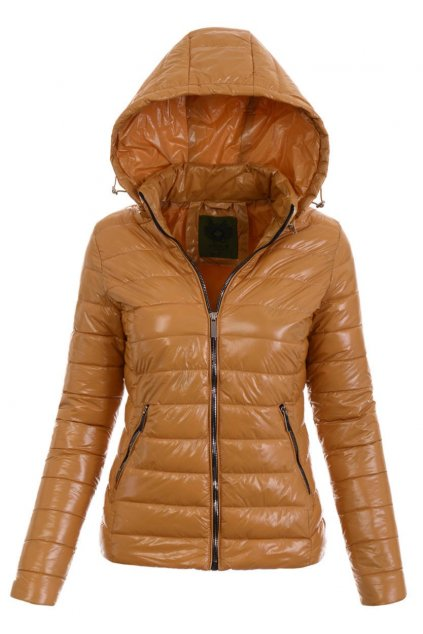 Dámska prechodná bunda s kapucňou 4893 hnedá
