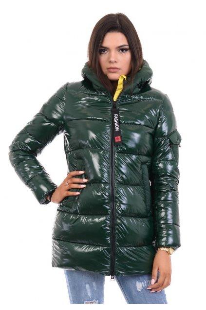 Dámska zimná bunda s kapucňou 4769 zeleno-žltá