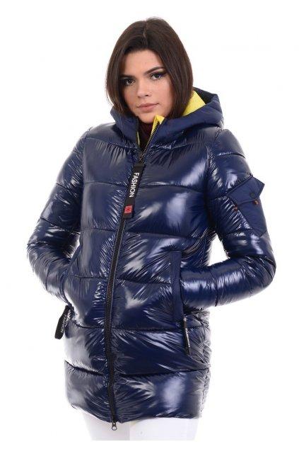 Dámska zimná bunda s kapucňou 4768 modro-žltá