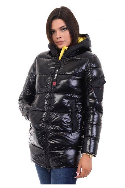 Dámska zimná bunda s kapucňou 4766 čierno-žltá