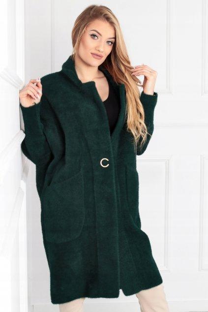 Dámsky dlhý kabát z alpaky Bela zelený