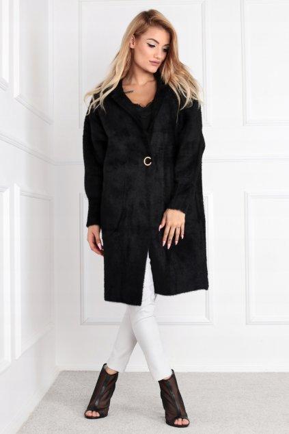 Dámsky dlhý kabát z alpaky Bela čierny