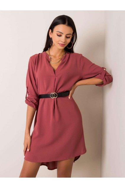 Dámske košeľové šaty Stella ružovohnedé