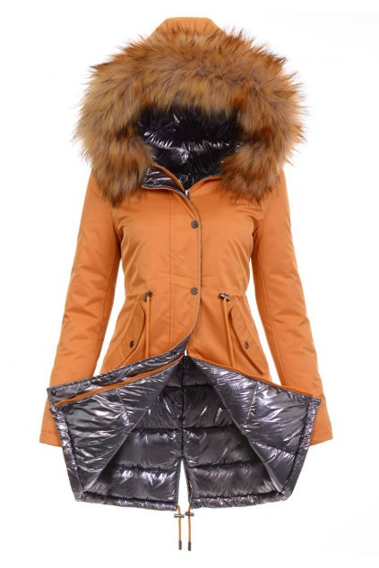 Obojstranná dámska zimná bunda 4843 žltá
