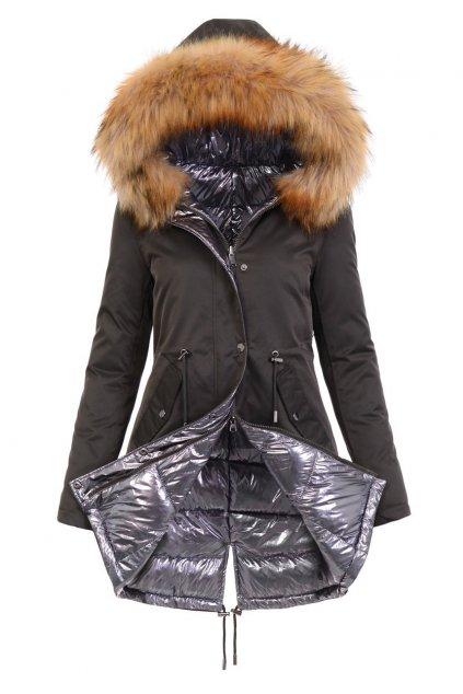 Obojstranná dámska zimná bunda 4841 kaki