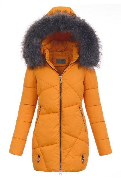Dámska zimná bunda s kapucňou 4759 žltá