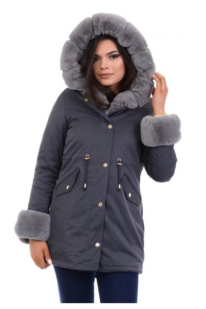 Dámska zimná bunda parka s kožušinou 4859 šedá