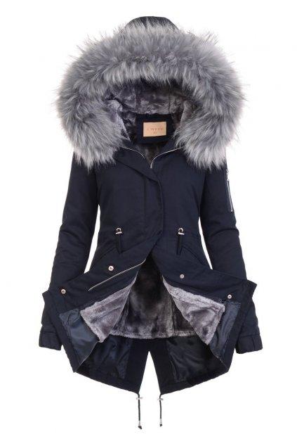 Dámska zimná bunda parka 2v1 6012 modrá