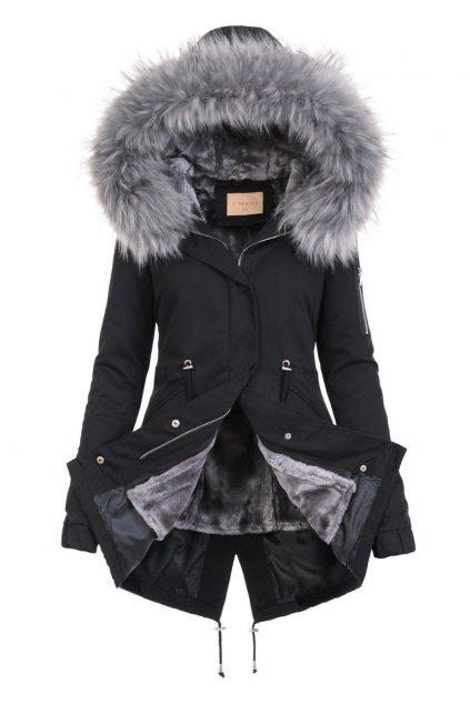 Dámska zimná bunda parka 2v1 6009 čierna
