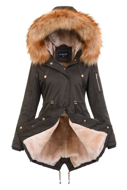 Dámska zimná bunda s kožušinou 4882 kaki