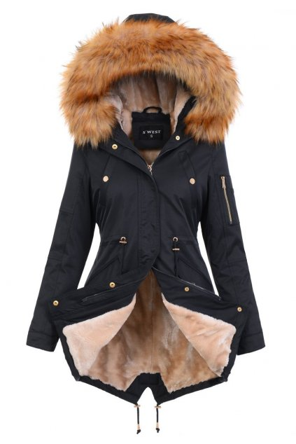 Dámska zimná bunda parka s kožušinou 4880 čierna