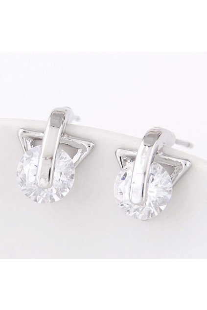 Strieborné náušnice tringle crystal