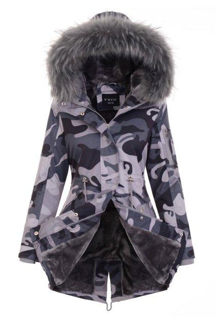 Dámska zimná bunda parka s kožušinou 5101 maskáč