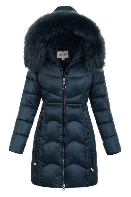 Dámska zimná bunda s kapucňou 5178 petrolejová