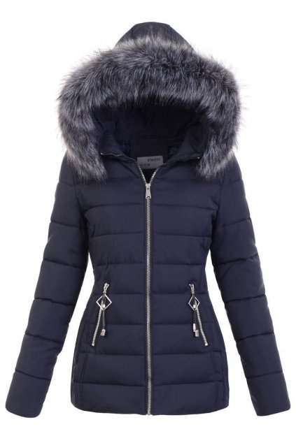 Dámska zimná bunda s kapucňou 5139 modrá