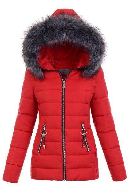 Dámska zimná bunda s kapucňou 5140 červená