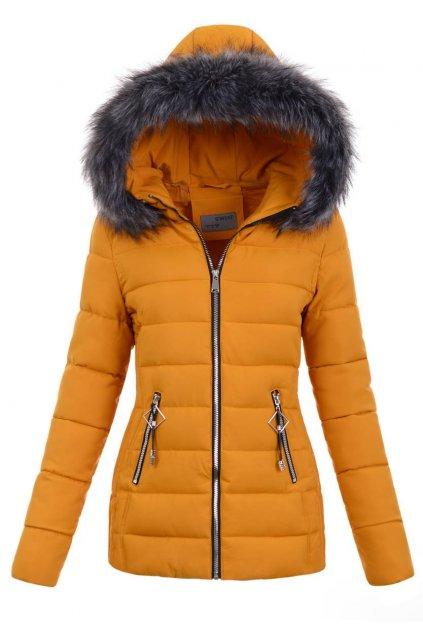 Dámska zimná bunda s kapucňou 5141 žltá