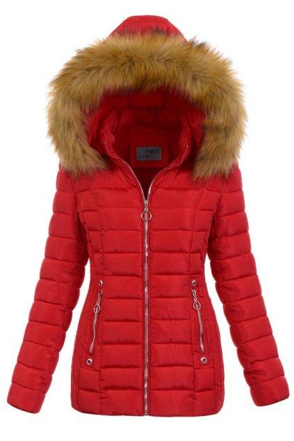 Dámska zimná bunda s kapucňou 5164 červená