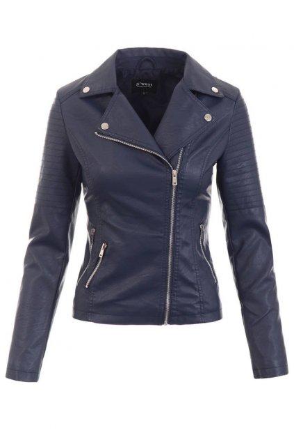 Dámska kožená bunda 5516 modrá
