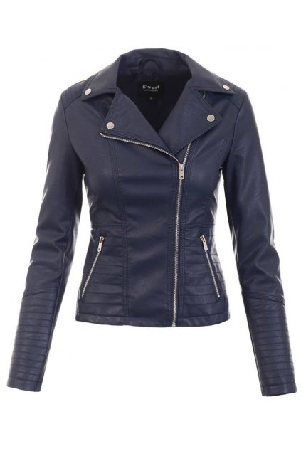 Dámska kožená bunda 5518 modrá