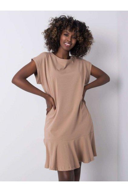 pol pl Ciemnobezowa sukienka z falbana River 363387 1