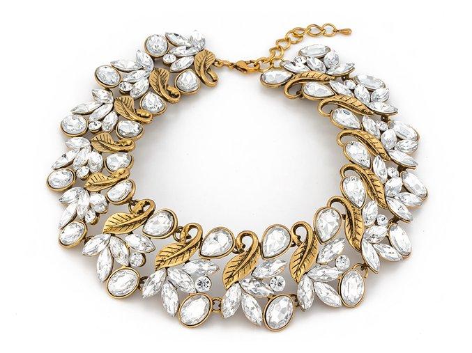 Masívny zlatý náhrdelník classical crystal