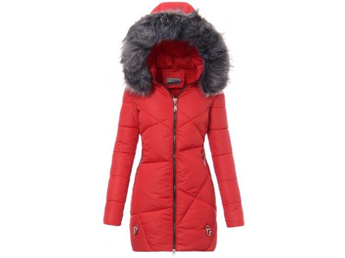 Dámska dlhá zimná bunda s kapucňou 2741 červená