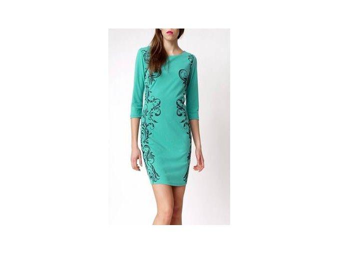 Elegantné šaty s ornamentom tyrkysové