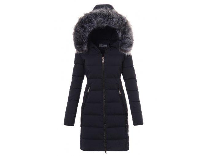 Dámska dlhá zimná bunda s kapucňo 3477 modrá