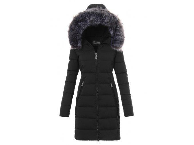 Dámska dlhá zimná bunda s kapucňou 2734 čierna