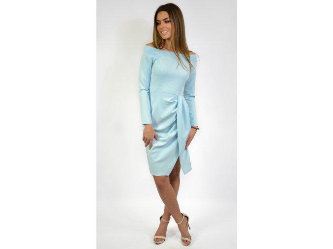 Elegantné koktejlové šaty 6975 modré