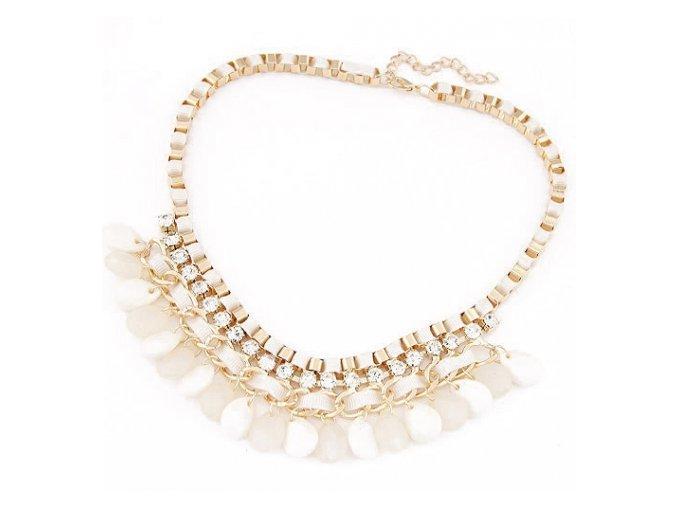 Perlový náhrdelník kvety